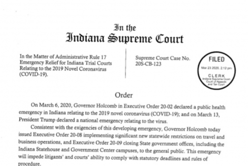 Indiana Supreme Court Emergency Relief